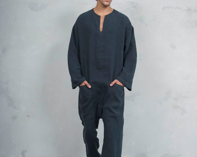 TOKYO LONG. Mens Black linen overall. Front pockets.OVERSIZED