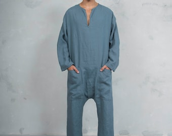 TOKYO LONG. Mens French Blue linen overall. Front pockets.OVERSIZED