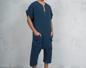 TOKYO SHORT. Mens Navy Blue linen overall. Front pocket. OVERSIZED