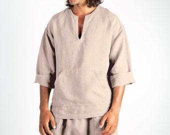 Linen top for men natural. PETRA TOP. Natural pure linen Tunic for men. Simple, contemporary, comfortable, quality soft linen.