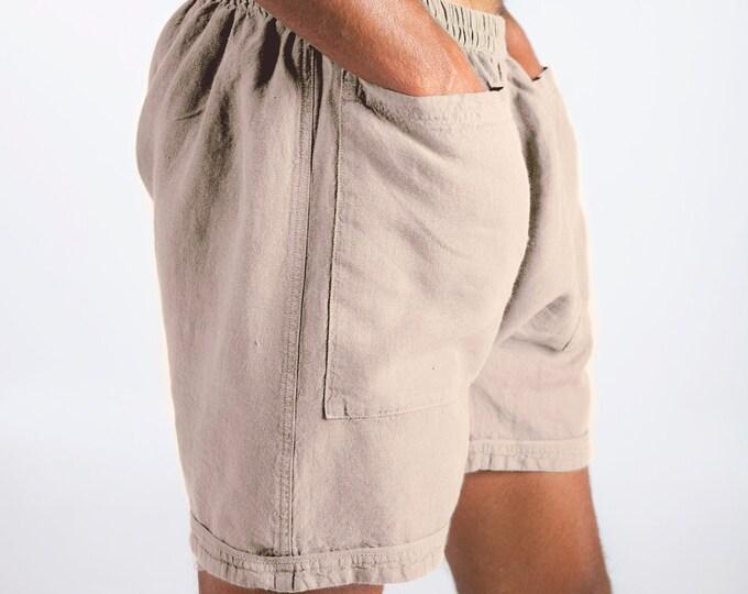 Linen Men's Shorts. AMMOS SHORTS. Natural pure linen HAREM Shorts for men. Simple, trendy, comfortable, quality soft linen.