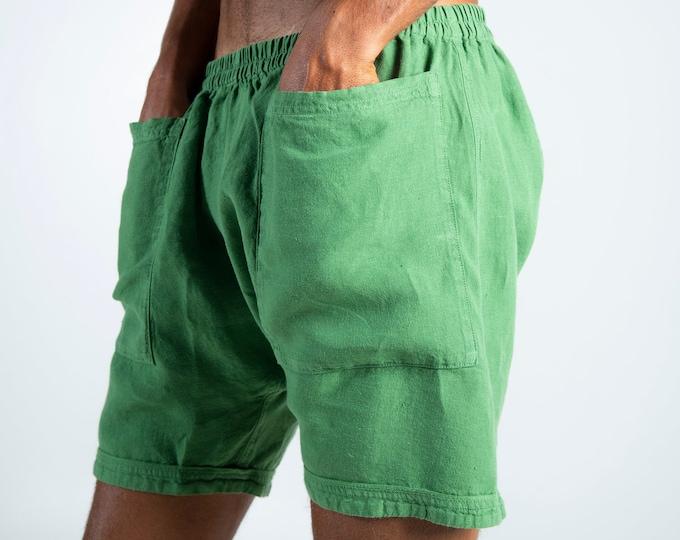 Linen Men's Shorts. AMMOS SHORTS. Roman Green pure linen HAREM Shorts for men. Simple, trendy, comfortable, quality soft linen.
