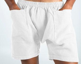 Linen Men's Shorts. AMMOS SHORTS. White pure linen HAREM Shorts for men. Simple, trendy, comfortable, quality soft linen.