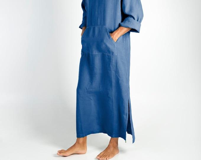 Linen MAN claftan/dress. CLASSICO. Blue pure linen tunic for men. Ultra soft 100% linen.