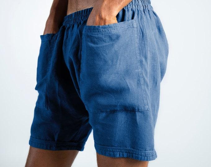Linen Men's Shorts. AMMOS SHORTS. Blue pure linen HAREM Shorts for men. Simple, trendy, comfortable, quality soft linen.