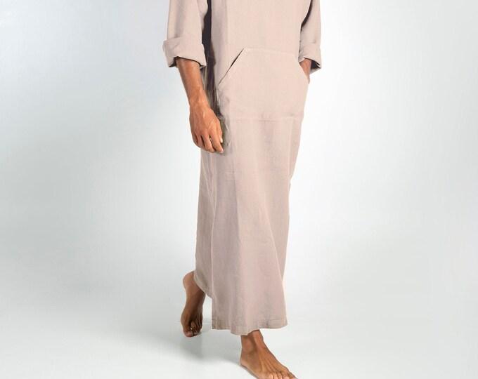 Linen MAN claftan/dress. CLASSICO. Natural Beige pure linen tunic for men. Ultra soft 100% linen.