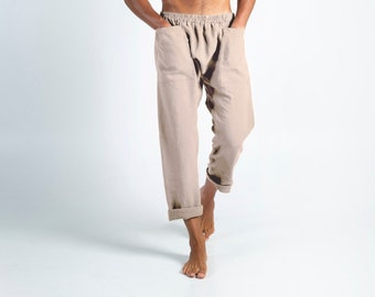Linen clothing for men. PETRA PANTS. Natural color pure linen Pants for men. Simple, contemporary, comfortable, quality soft linen.