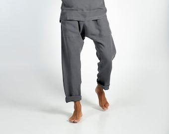 Linen pants for men. PETRA PANTS. Lead Grey pure linen Pants for men. Simple, contemporary, comfortable, quality soft linen.