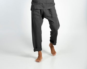 PETRA PANTS. Anthracite Black pure linen Pants for men. Simple, contemporary, comfortable, quality soft linen.