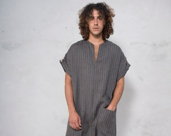 TOKYO SHORT. Mens Black Striped linen jumpsuit. Front pocket. OVERSIZED