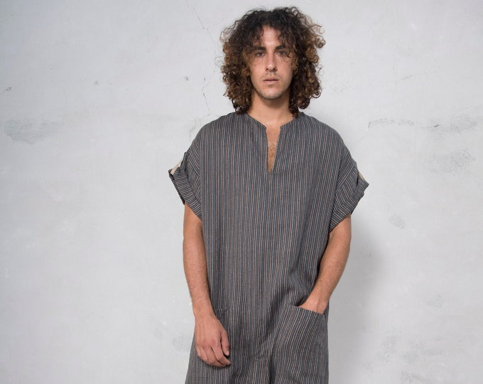 TOKYO SHORT. Mens Black Striped linen jumpsuit. Front pocket. OVERSIZED