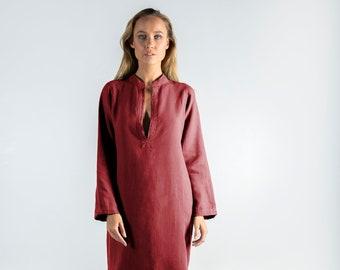 Long Linen Dress EMMA. Ancient RED long linen shirtdress. Simple, elegant, cool caftan.