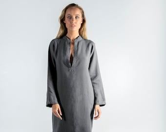 Long Linen Dress EMMA. Lead GREY long linen shirtdress. Simple, elegant, cool caftan.