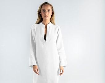Long Linen Dress EMMA. Bright WHITE long linen shirtdress. Simple, elegant, cool caftan.