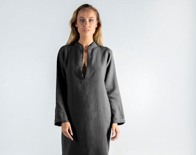 Long Linen Dress EMMA. Anthracite BLACK long linen shirtdress. Simple, elegant, cool caftan.