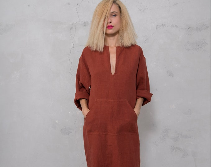 JEFF caftan. PAPRIKA color dress. Pure pre washed linen kaftan for women with front pocket. Unique minimal design.