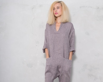 KYOTO JUMPSUIT. Women's plum color woven linen overall. Front pockets. Ultra soft OVERSIZED
