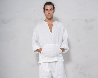 PETRA White Striped set. Tunic and harem pants. Pure pre washed linen. Sold also separately.