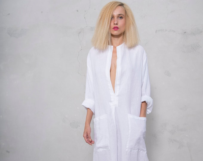 SPA woman linen caftan. White, cool loose fit dress for women. Pure soft linen.