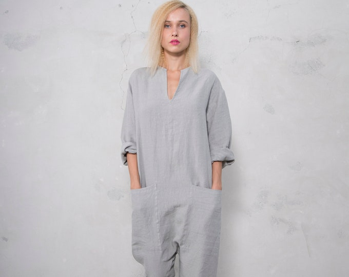 KYOTO JUMPSUIT. Women's stone grey linen overall. Front pockets.OVERSIZED