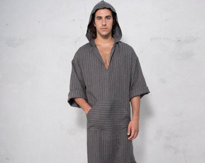 CLASSICO. Mens Black Striped linen kaftan. Front pocket. HOOD OPTIONAL.