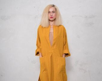 SPA woman linen caftan. Cumin color, cool loose fit dress for women. Pure soft linen.