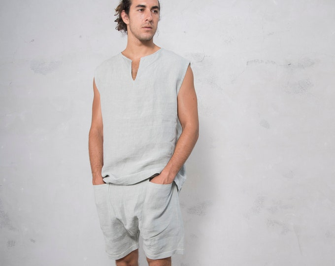 AMMOS man set. Sleeveless top and harem short pants. Selection of 14 COLORS. Pure pre washed linen.