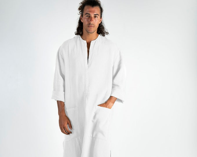 Linen caftan SPA MAN. White, cool, loose fit tunic for men. Pure soft quality linen.