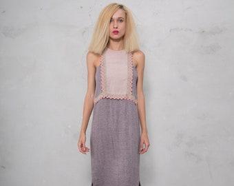 EDEN plum/desert rose. Luxurious woven patterned linen. Straight cut dress with cotton lace.