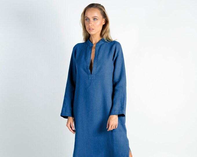 Long Linen Dress EMMA. BLUE long linen shirtdress. Simple, elegant, cool caftan.