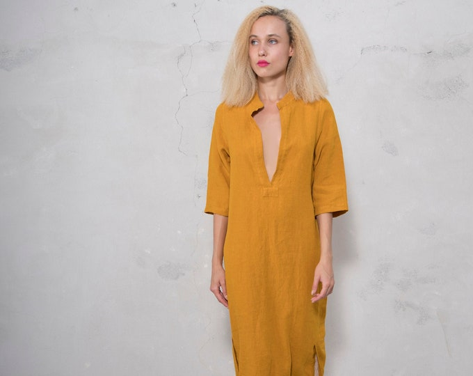 JASMINE midi shirtdress. CUMIN color  pure soft linen. Cotton lace on the slits.