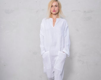 KYOTO JUMPSUIT. Women's white linen overall. Front pockets.OVERSIZED