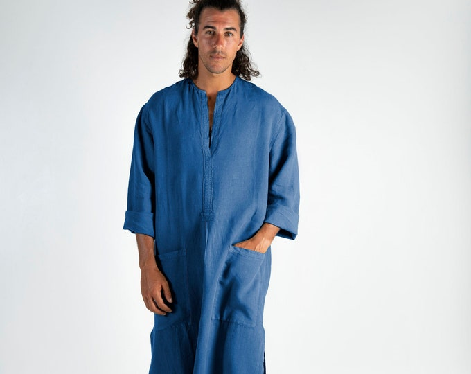Linen caftan SPA MAN. BLUE, cool, loose fit tunic for men. Pure soft quality linen.