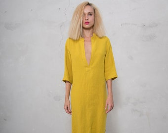 JASMINE midi shirtdress. CURRY color  pure soft linen. Cotton lace on the slits.