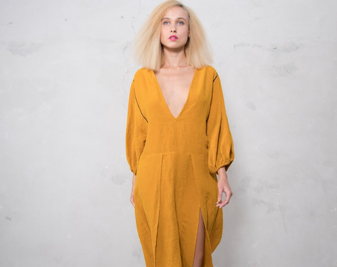 SOUQ dress. ONE SIZE. Selection of 14 colors. Pre washed pure linen. Loose fit summer dress.