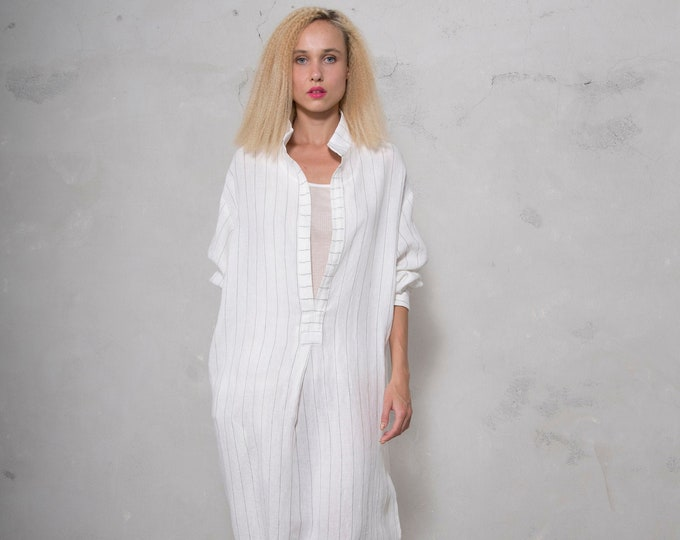 ANAIS women linen caftan.White Pinstriped, ONE SIZE, cool dress for women. Pure soft linen. Oversized,Loose fit.