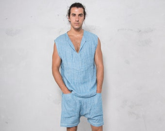 AMMOS Turquoise man set. Sleeveless top and harem short pants. Pure pre washed linen.
