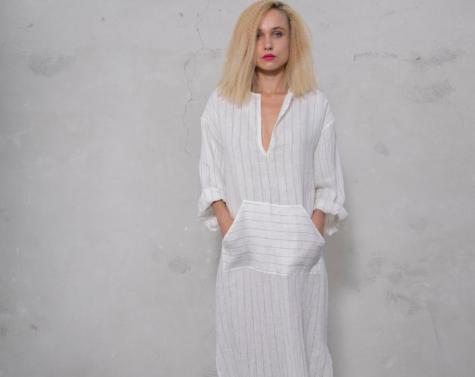 JEFF caftan. WHITE PINSTRIPED tunic. Pure linen kaftan for women with front pocket. Unique minimal design.