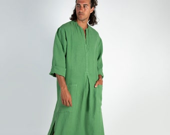SPA MAN linen caftan. Roman GREEN, cool, loose fit tunic for men. Pure soft quality linen.