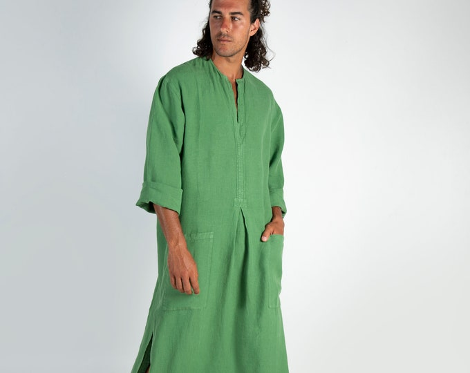Linen caftan SPA MAN.  Roman GREEN, cool, loose fit tunic for men. Pure soft quality linen.