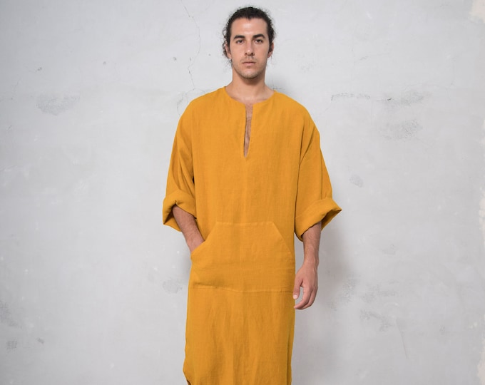 CLASSICO. Mens Cumin color linen caftan. Front pocket.