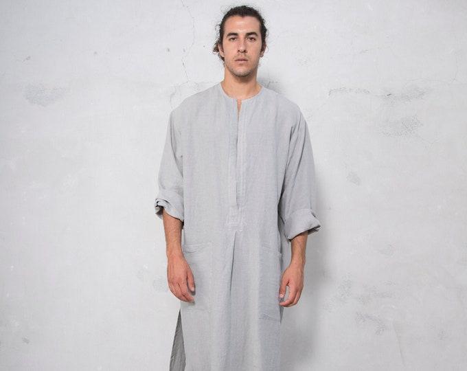 SPA man linen caftan. STONE GREY, long, loose fit tunic for men. Pure soft linen.