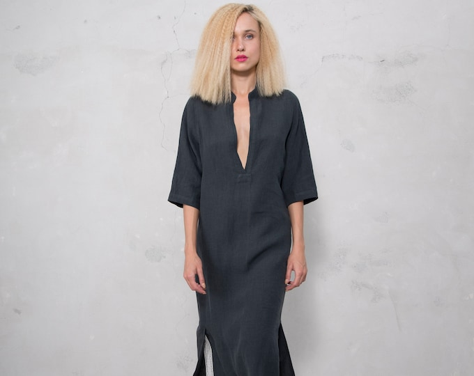 JASMINE midi shirtdress. BLACK  pure soft linen. Cotton lace on the slits.