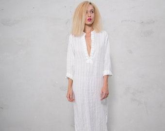 EMMA. WHITE PINSTRIPED long shirtdress. Lightweight cool linen caftan.