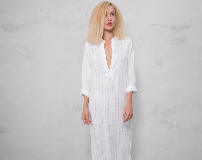 EMMA. WHITE PINSTRIPED long shirtdress. Lightweight cool linen caftan.