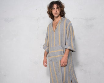 CLASSICO. Mens Grey Striped linen kaftan. Front pocket. HOOD OPTIONAL.