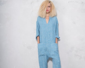 KYOTO JUMPSUIT. Women's turquoise woven linen overall. Front pockets. Ultra soft OVERSIZED