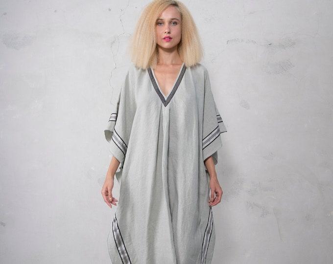 ERATO pistachio color, ONE SIZE, tunic for women. Pure soft linen. Oversized,Loose fit.