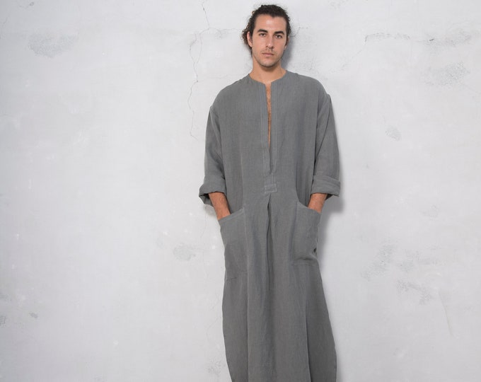 SPA man linen caftan. LEAD GREY color, long, loose fit tunic for men. Pure soft linen.