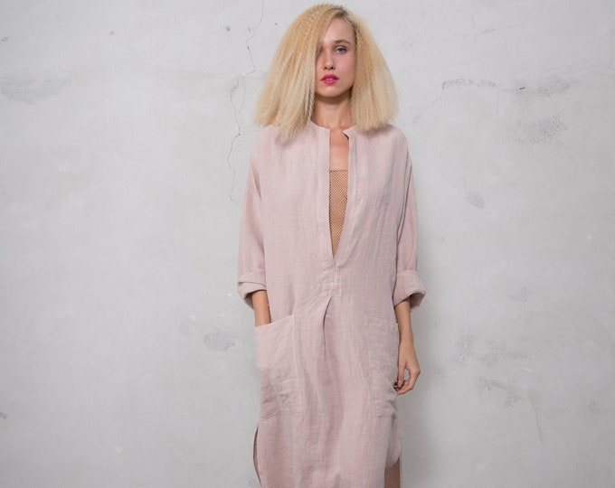 SPA woman linen caftan. Desert Rose, cool loose fit dress for women. Pure soft linen.